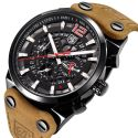 Chronograph Sports Military Waterproof Leather Quartz Wrist Watch