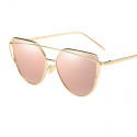 Vintage Cat Eye Rose Gold Twin-Beam Mirror Sunglasses