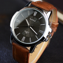 Mens Watches Blue Glass With Waterproof Leather Roman