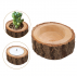 1pc Candle Stand Set Creative Wooden Bark Candlestick Indoor Flower Pot