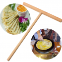 Wood Crepe Maker Tool Pancake Batter Wooden Spreader Stick